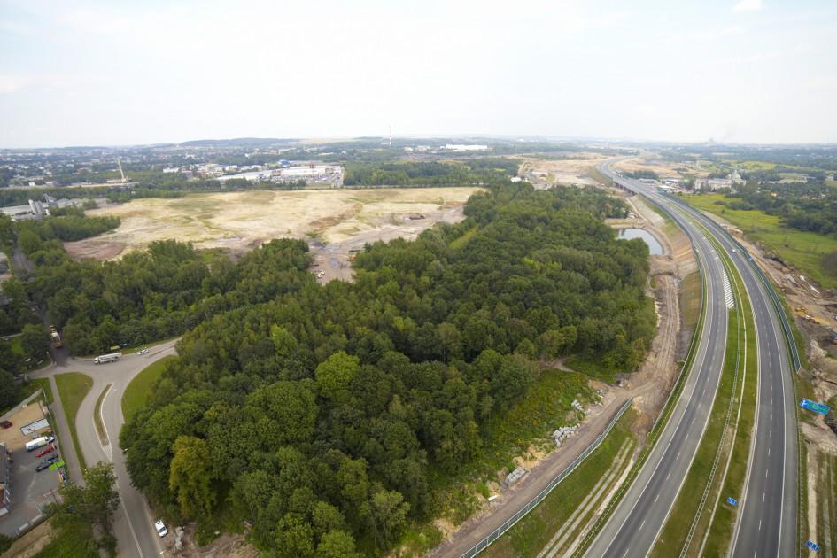 Zdjęcie z lotu ptaka prezentujące teren inwestycyjny w Bytomiu.