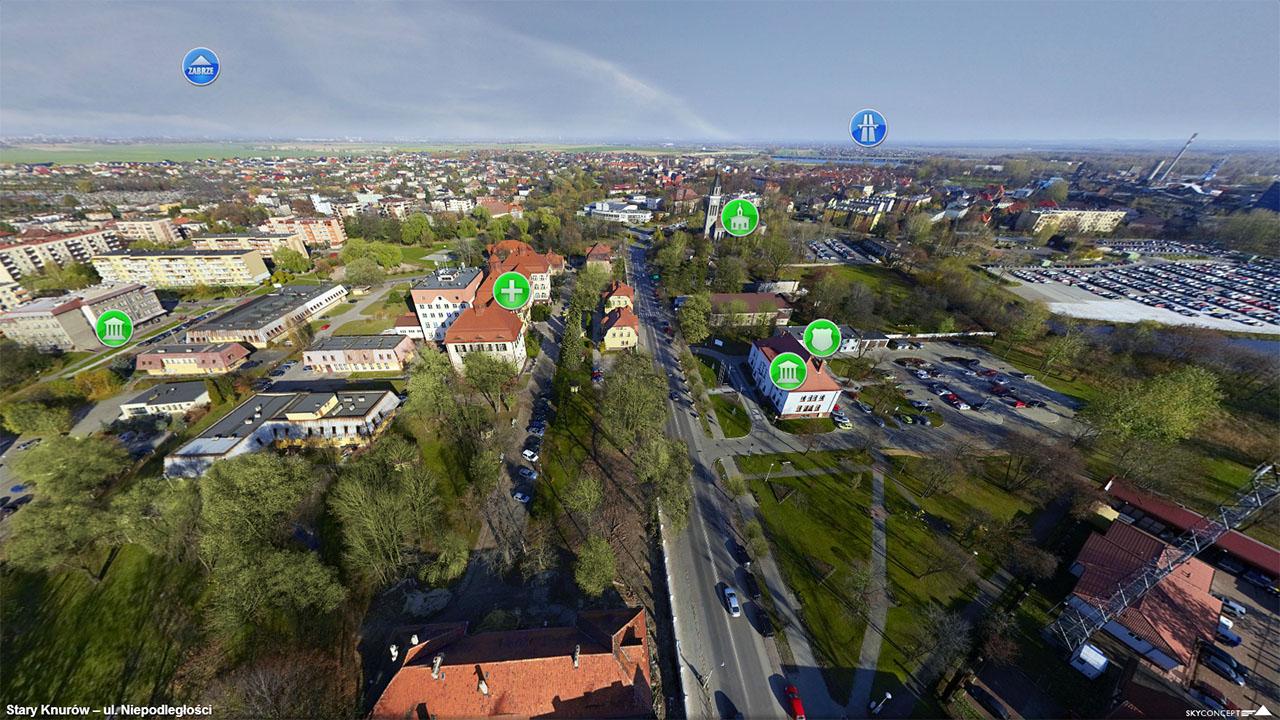 Panorama centrum miasta Knurów