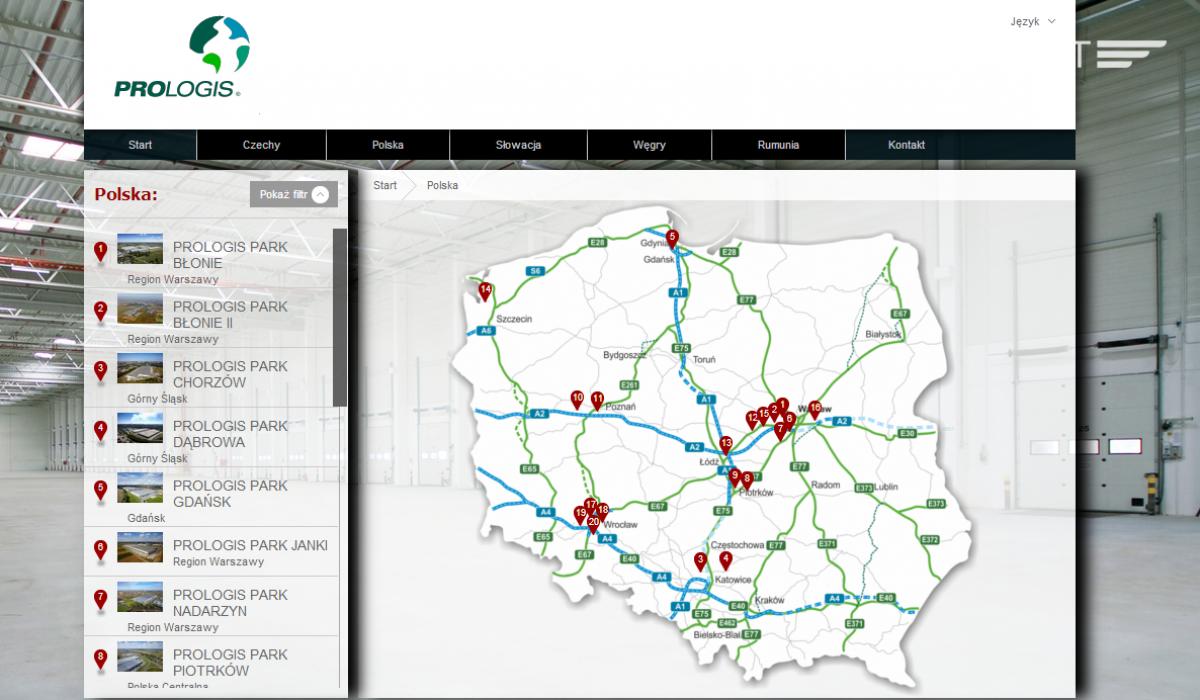 Interaktywna mapa magazynów w Polsce